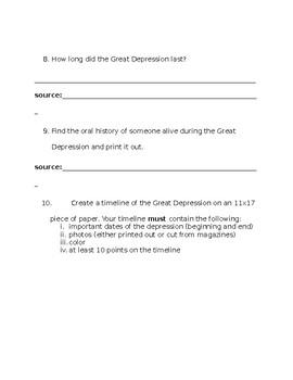 The Great Depression Scavenger Hunt
