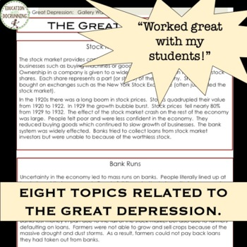 The Great Depression Student-Designed Gallery Walk Activity