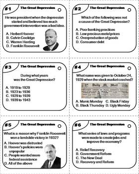 The Great Depression Task Cards