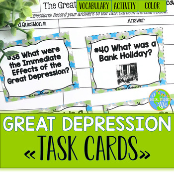 Great Depression TASK CARDS and Recording Sheet