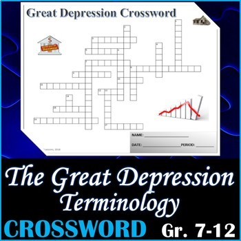 The Great Depression Terminology Crossword Puzzle Activity Worksheet