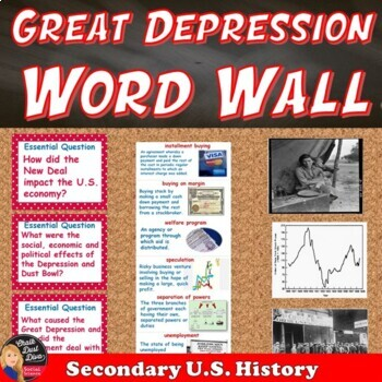 The Great Depression Vocabulary WORD WALL Posters (U.S.History)