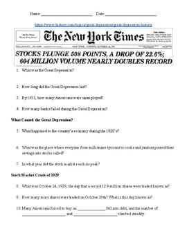 The Great Depression Webquest