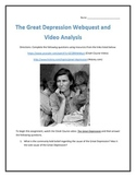The Great Depression- Webquest and Video Analysis with Key