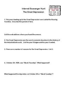 The Great Depression-Webquest or Internet Scavenger Hunt  Grades 5-10