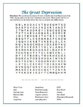 The Great Depression Word Search with Hidden Message—Great Filler Activity!