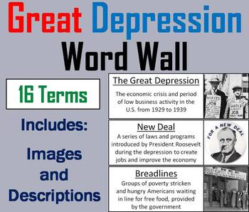 Great Depression Word Wall Cards