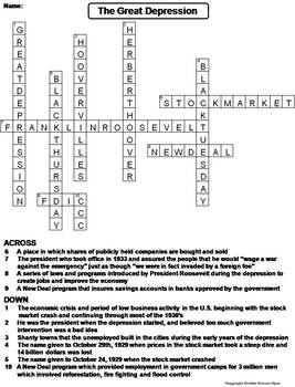 The Great Depression Worksheet/ Crossword Puzzle