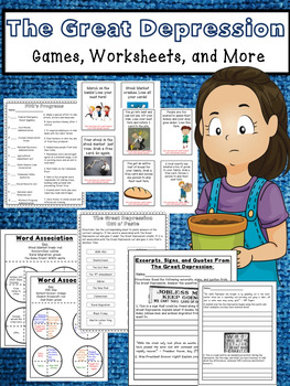 The Great Depression: Worksheets, Question and Answer, Game and More