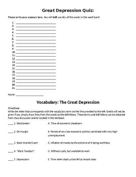 The Great Depression Quiz + Additional Assignments