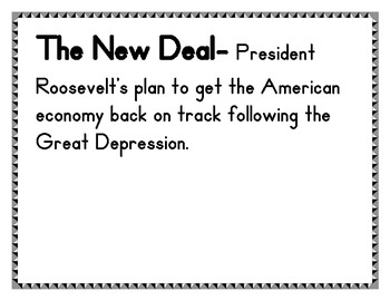 The Great Depression and the New Deal Vocabulary Bulletin Board Display  SS5H5