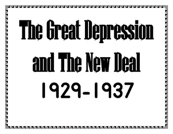 The Great Depression and the New Deal Vocabulary Bulletin