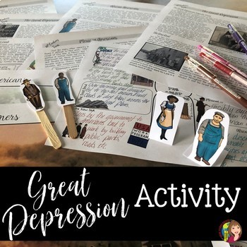The Great Depression in Texas Reading, Doodle Notes and Puppet Show