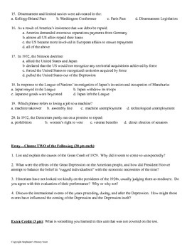 The Great Depression Test Editable