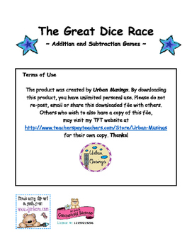 The Great Dice Race Math Game