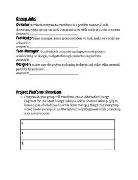 The Great Energy Debate: Student Centered Project on Alternative Energy and Uses