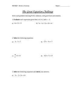 The Great Equation Challenge (Two-variable equations)