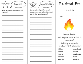 The Great Fire Trifold - Journeys 6th Grade Unit 3 Week 1 (2014, 2017)