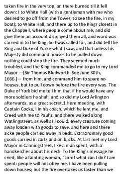 The Great Fire of London Primary Source Document