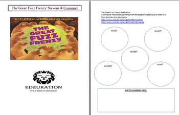 The Great Fuzz Frenzy J. Stevens Common Core Reading Compr