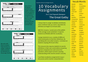 The Great Gatsby - 10 Vocabulary Lessons w/ Comprehension Qs - 7-12 ELA