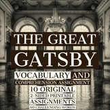 The Great Gatsby - 10 Vocabulary Lessons w/ Comprehension