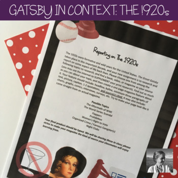 The Great Gatsby: 1920s Magazine Page Project