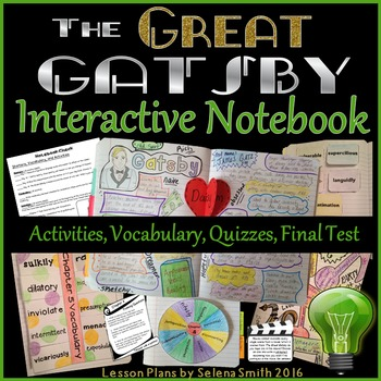 Great Gatsby Unit - Interactive Notebook Activities, Quizzes, Vocabulary, Test