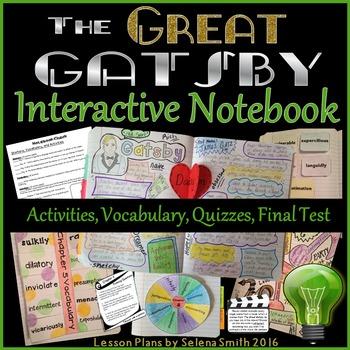 Great Gatsby Unit - Interactive Notebook Activities, Quizz