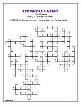 The Great Gatsby: 3 Reading-for-Detail Crosswords—Challenging!