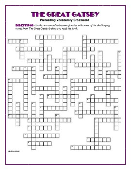 The Great Gatsby: 50-word Prereading Crossword—Use with Bookmarks Plus!