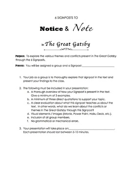 The Great Gatsby 6 Signposts Project & Presentation