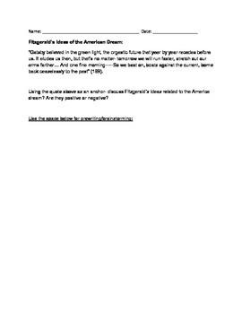 The Great Gatsby, American Dream Written Response