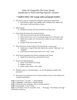 The Great Gatsby: Analyses and Notes