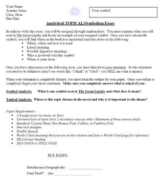 Narrative Essay Thesis The Great Gatsby Analytical Topicalsymbolism Essay High School Entrance Essay Samples also How To Write An Essay Proposal The Great Gatsby Analytical Topicalsymbolism Essay By Throwing Glitter Apa Bibliography Online