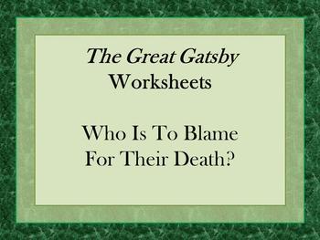 The Great Gatsby Argumentation Worksheet