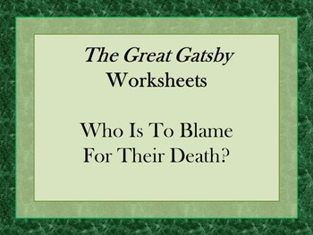 The Great Gatsby Argumentation Worksheet