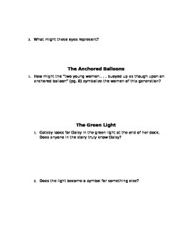 The Great Gatsby Assignments