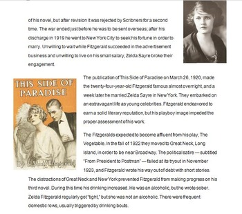 The Great Gatsby Biography, Symbolism, and Setting Introduction Powerpoint
