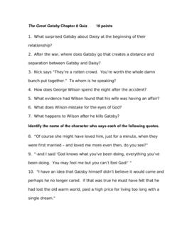 The Great Gatsby Ch. 8 Quiz