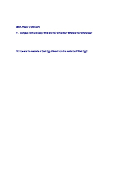 The Great Gatsby Chapter 1-2 Quiz
