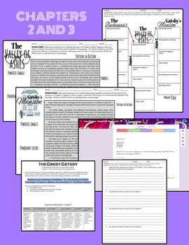 The Great Gatsby:  Chapter 1, 2, and 3 Activities