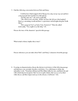 The Great Gatsby Chapter 1 Close Reading / Analysis Text-dependent Questions