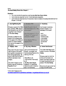 The Great Gatsby - Chapter 1 Choice Boxes