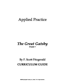 The Great Gatsby Chapter 1 Curriculum Guide by Applied Practice