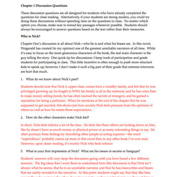 The Great Gatsby Chapter 1: Questions, Quiz, Study Guide, Activities