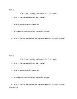 The Great Gatsby - Chapter 1 - Quick Quiz