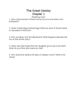 The Great Gatsby Chapter 1 Reading Quiz FREE