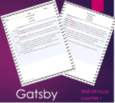 The Great Gatsby - Chapter 1 True or False with ANSWER KEY