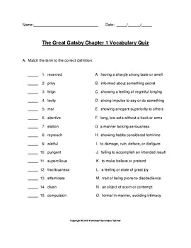 The Great Gatsby Chapter 1 Vocabulary Quiz with Answer Key